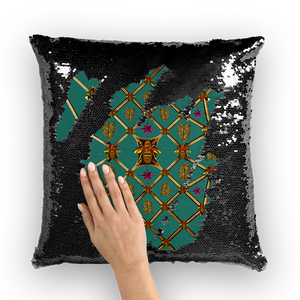 Bee Divergence Gilded Ribs & Magenta Stars- French Gothic Sequin Pillowcase or Throw Pillow in Jade | Le Leanian™