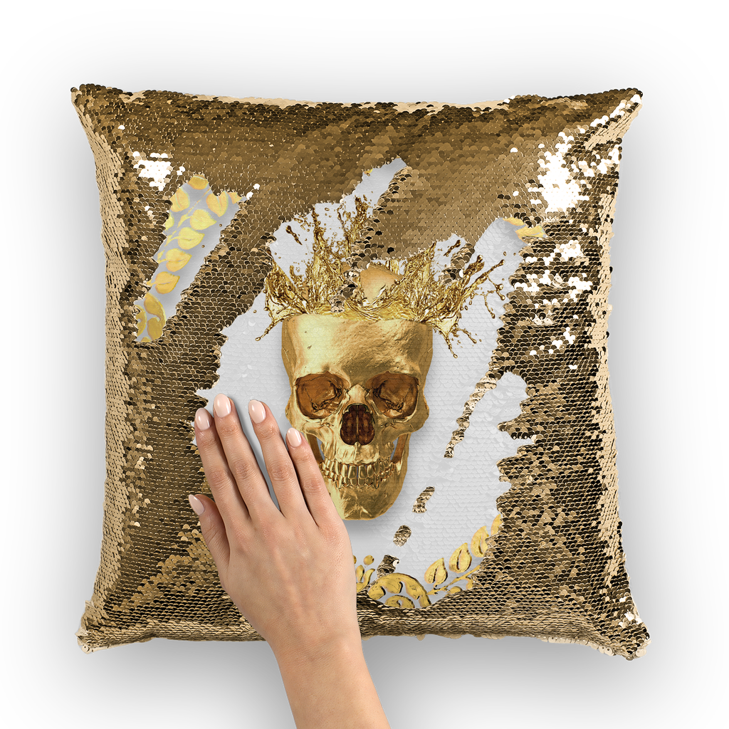 Gold Sequin Pillow Case-Gold Skull-Gold WREATH in color Light GRAY