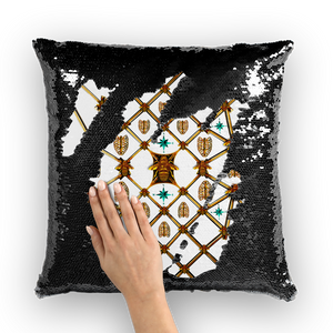 Bee Divergence Gilded Ribs & Teal Stars- French Gothic Sequin Pillowcase or Throw Pillow in White | Le Leanian™