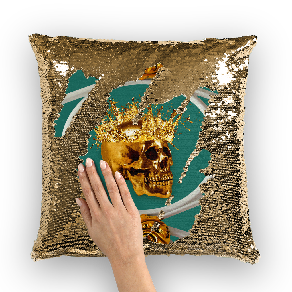 Versailles Golden Skull- French Gothic Sequin Pillowcase or Throw Pillow in Jade | Le Leanian™