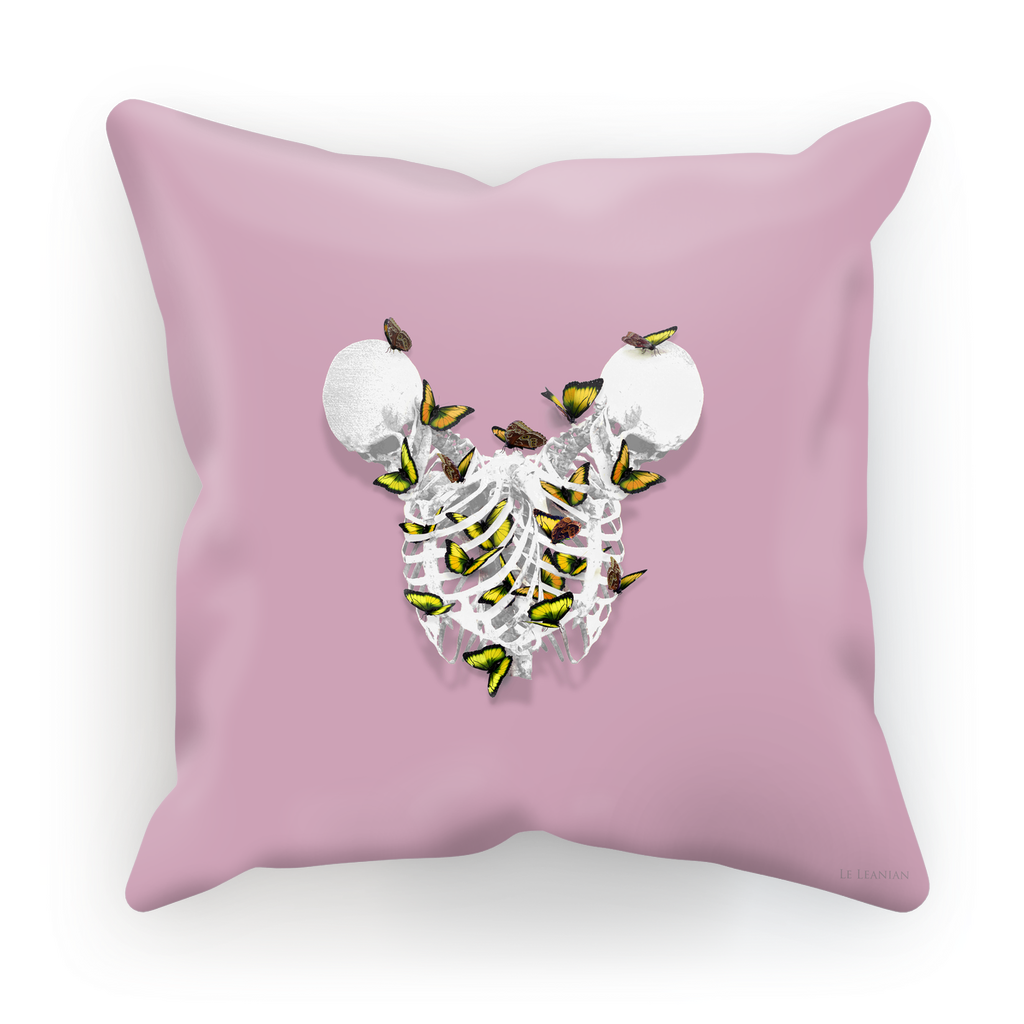 Siamese Skeletons with Gold Butterflies coming out The Rib cage- in Light Purple Pink