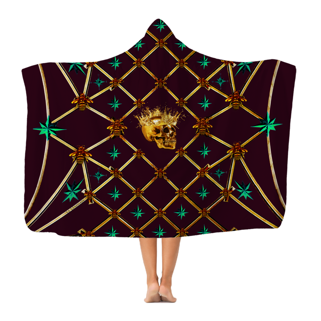 Skull Gilded Honeycomb & Jade Stars- Adult & Youth Hooded Fleece Blanket in Eggplant Wine | Le Leanian™