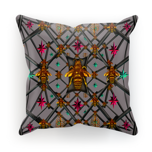 Bee Divergent Abstract- French Gothic Satin & Suede Pillowcase in Lavender Steel | Le Leanian™