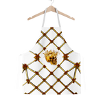 Skull and Honey Bee-Honeycomb Pattern- Classic Apron in White