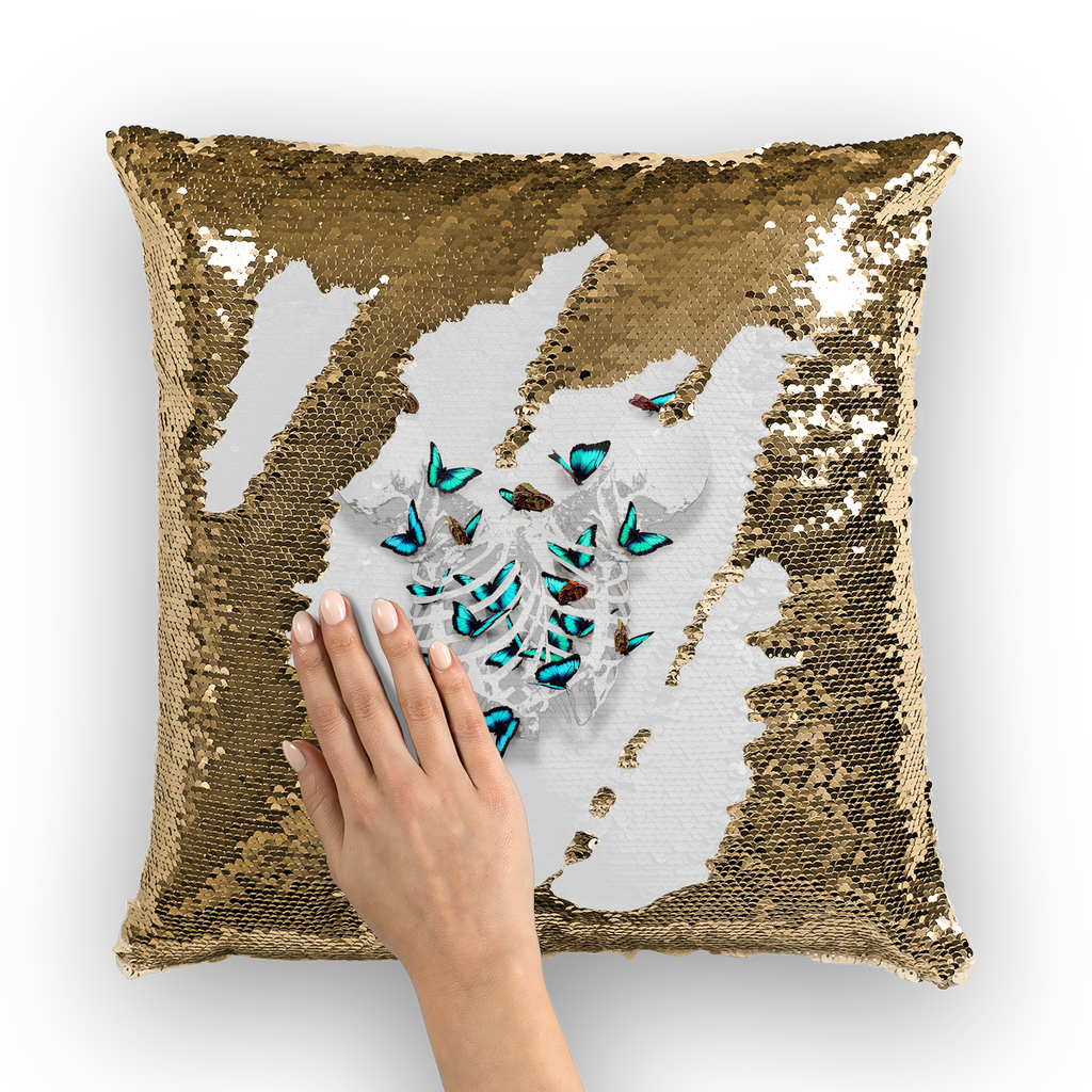 Versailles Whispers Teal Duality- French Gothic Sequin Pillowcase or Throw Pillow in Lightest Gray | Le Leanian™