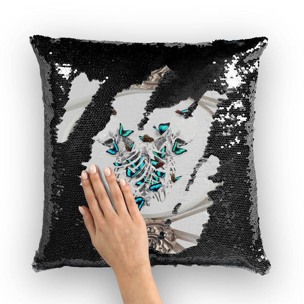 Versailles Whispers Divergent Teal Duality- French Gothic Sequin Pillowcase or Throw Pillow in White | Le Leanian™
