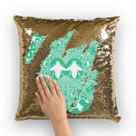 Gold Sequin Baroque Honey BEE PATTERN-Pillow Case-Throw Pillow-Color JADE TEAL, BLUE GREEN