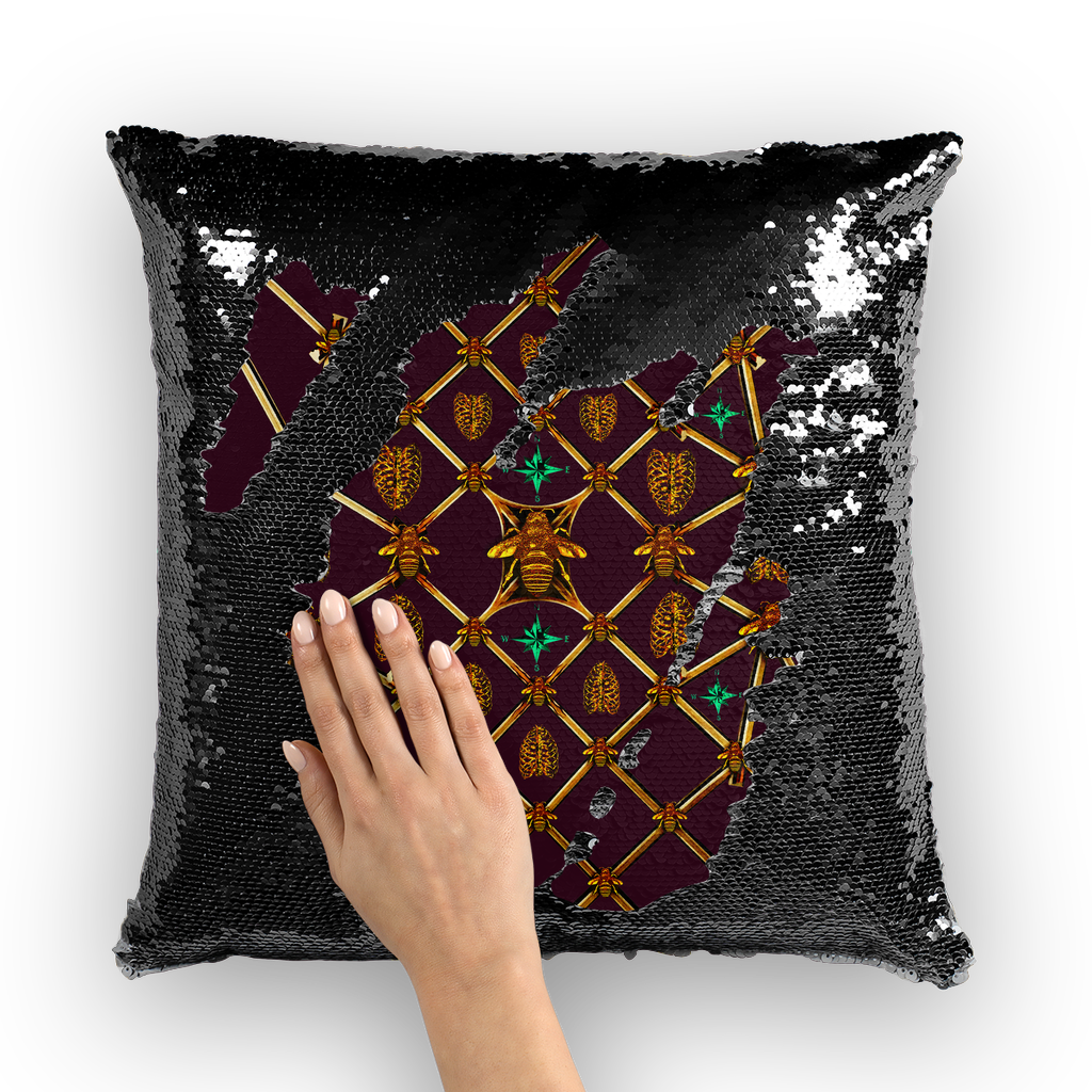Bee Divergence Gilded Ribs & Jade Stars- French Gothic Sequin Pillowcase or Throw Pillow in Eggplant Wine | Le Leanian™