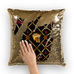 Gold Skull and Magenta Stars- Honey Bee Pattern- Sequin Pillow Case or Throw Pillow in Color Black