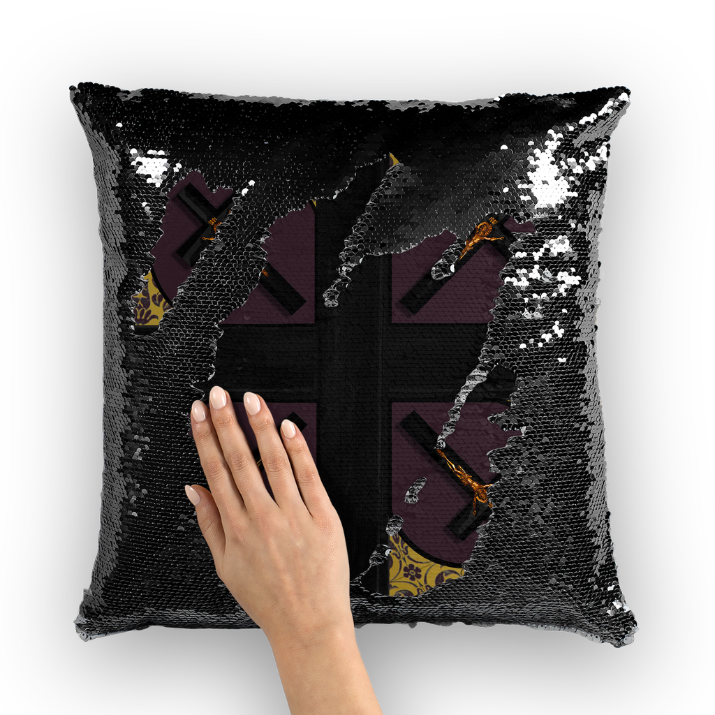 Crossroads Crucifix- French Gothic Sequin Pillowcase or Throw Pillow in Muted Eggplant Wine | Le Leanian™