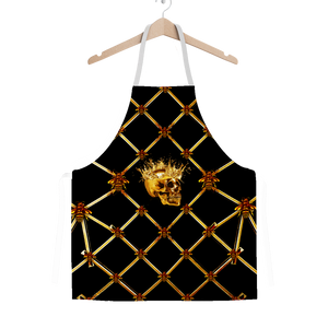 Gold Skull and Honey Bee Pattern- Classic Apron in Color Black