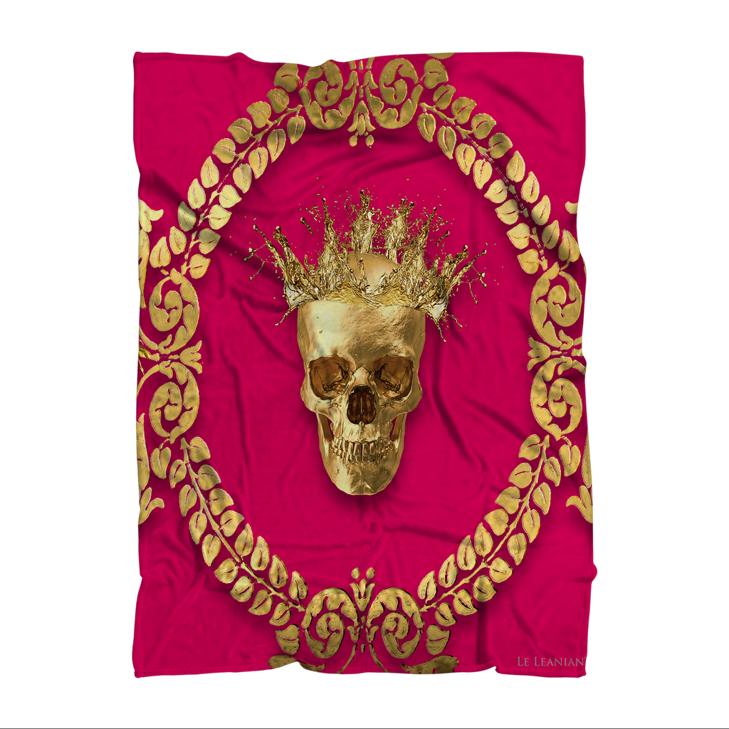 Polar Fleece Blanket-GOLD SKULL & CROWN-GOLD WREATH-Color BOLD FUCHSIA, HOT PINK, PINK