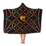 Skull Gilded Honeycomb & Jade Stars- Adult & Youth Hooded Fleece Blanket in Muted Eggplant Wine | Le Leanian™