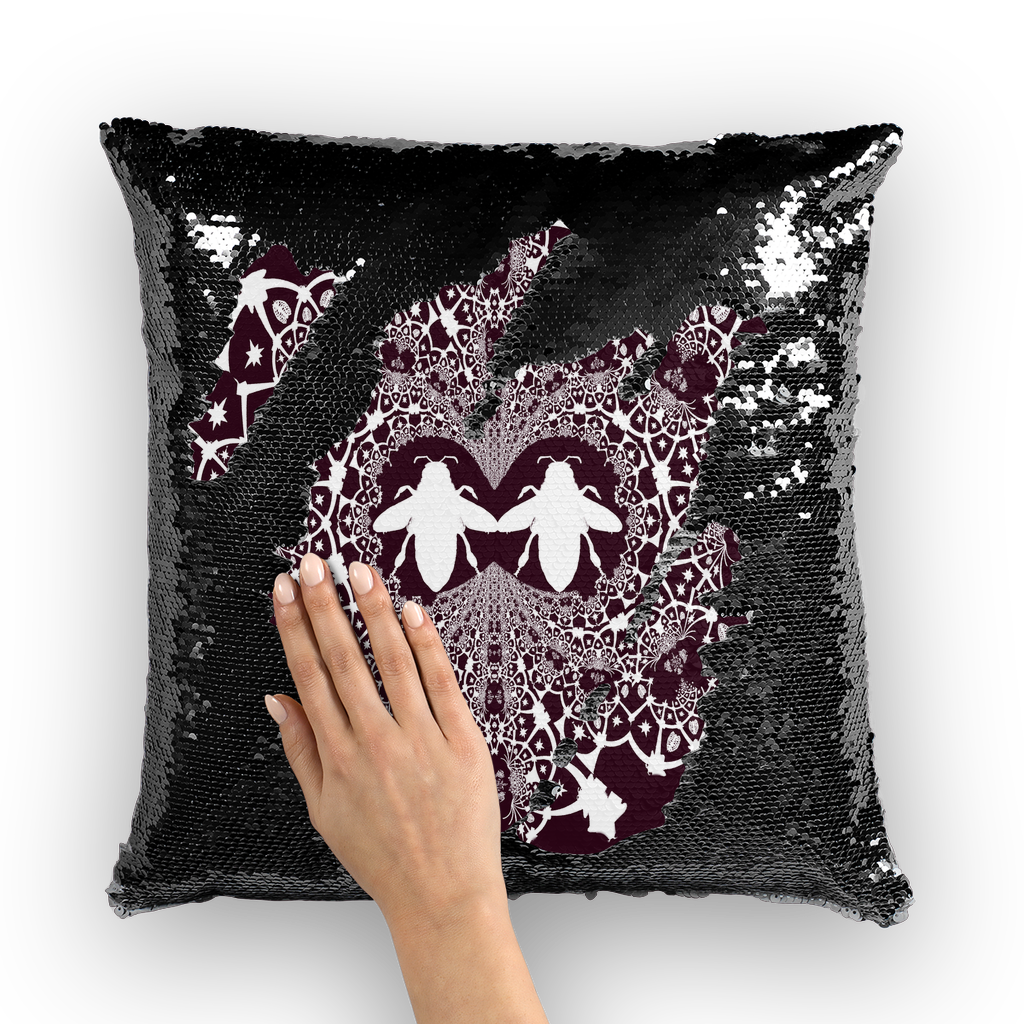 Baroque Hive Relief- French Gothic Sequin Pillowcase or Throw Pillow in Eggplant Wine | Le Leanian™