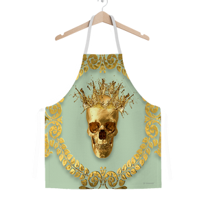 Classic Apron-Gold SKULL and Crown-Gold WREATH-Color PASTEL BLUE