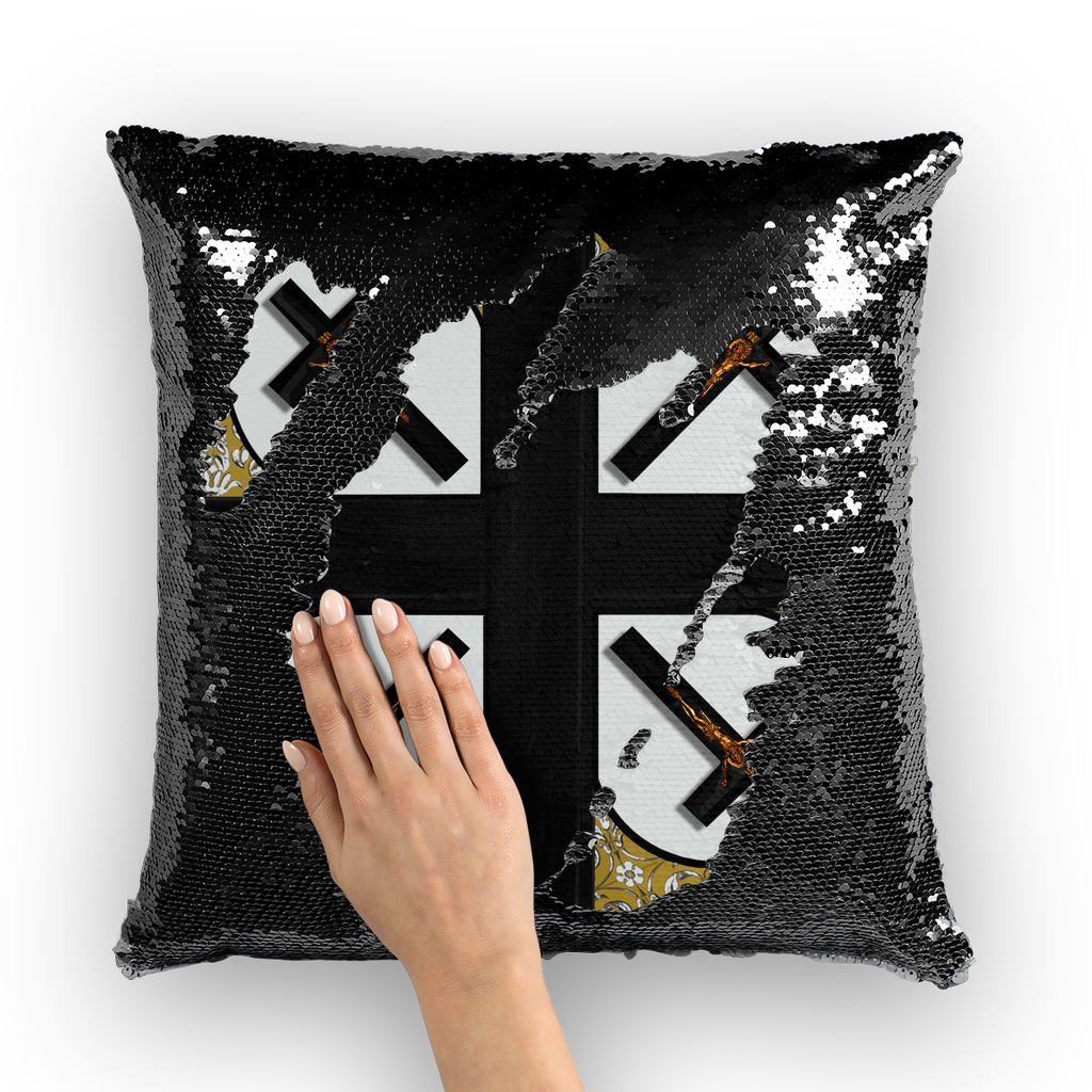 Crossroads Crucifix- French Gothic Sequin Pillowcase or Throw Pillow in Lightest Gray | Le Leanian™