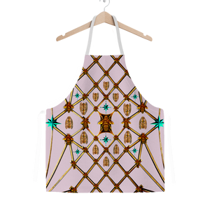 Gilded Ribs & Teal Stars- Classic French Gothic Apron in Nouveau Blush Taupe | Le Leanian™