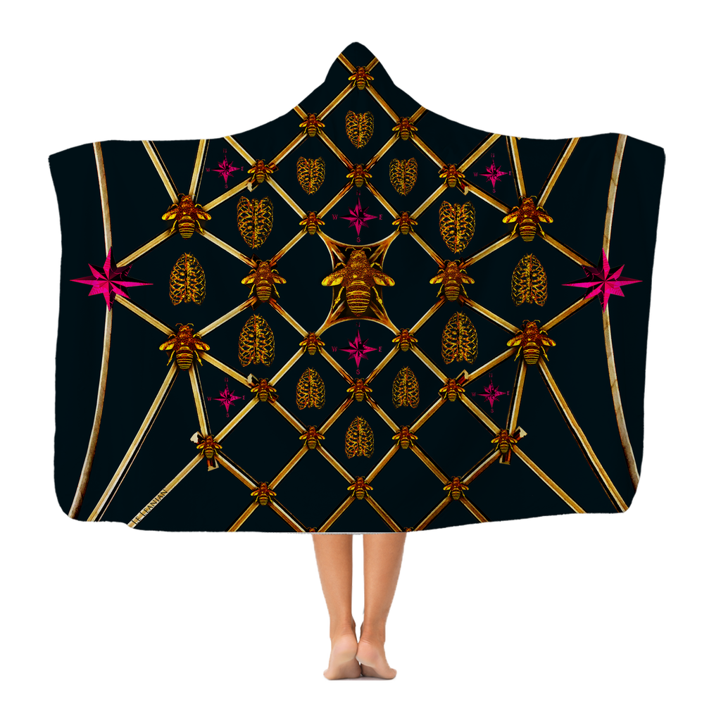 Gilded Bees & Ribs Magenta Stars- Adult & Youth Hooded Fleece Blanket in Midnight Teal | Le Leanian™