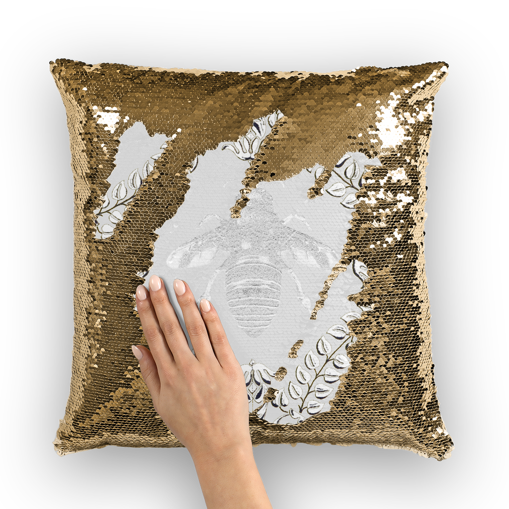 Queen Bee Gold Sequin Pillowcase-French Country Chic- Goth Chic- Pillow Case or Throw Pillow in Color Light Gray, Gray and White