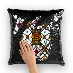 Bee Divergent Abstract- French Gothic Sequin Pillowcase or Throw Pillow in White | Le Leanian™