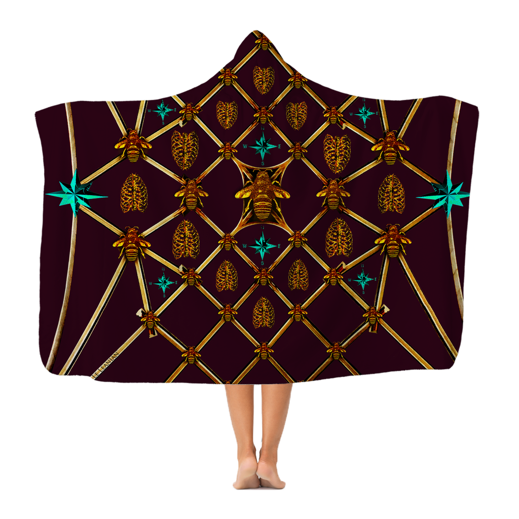 Gilded Bees & Ribs Teal Stars- Adult & Youth Hooded Fleece Blanket in Eggplant Wine | Le Leanian™