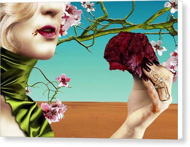 Dining Under Almond Blossoms Vol I - Surreal Fine Art Portrait on Canvas | The Photographist™