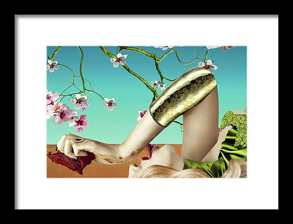 Surreal Portrait of a Woman Tasting a Steak under Almond Blossoms- Framed Print.