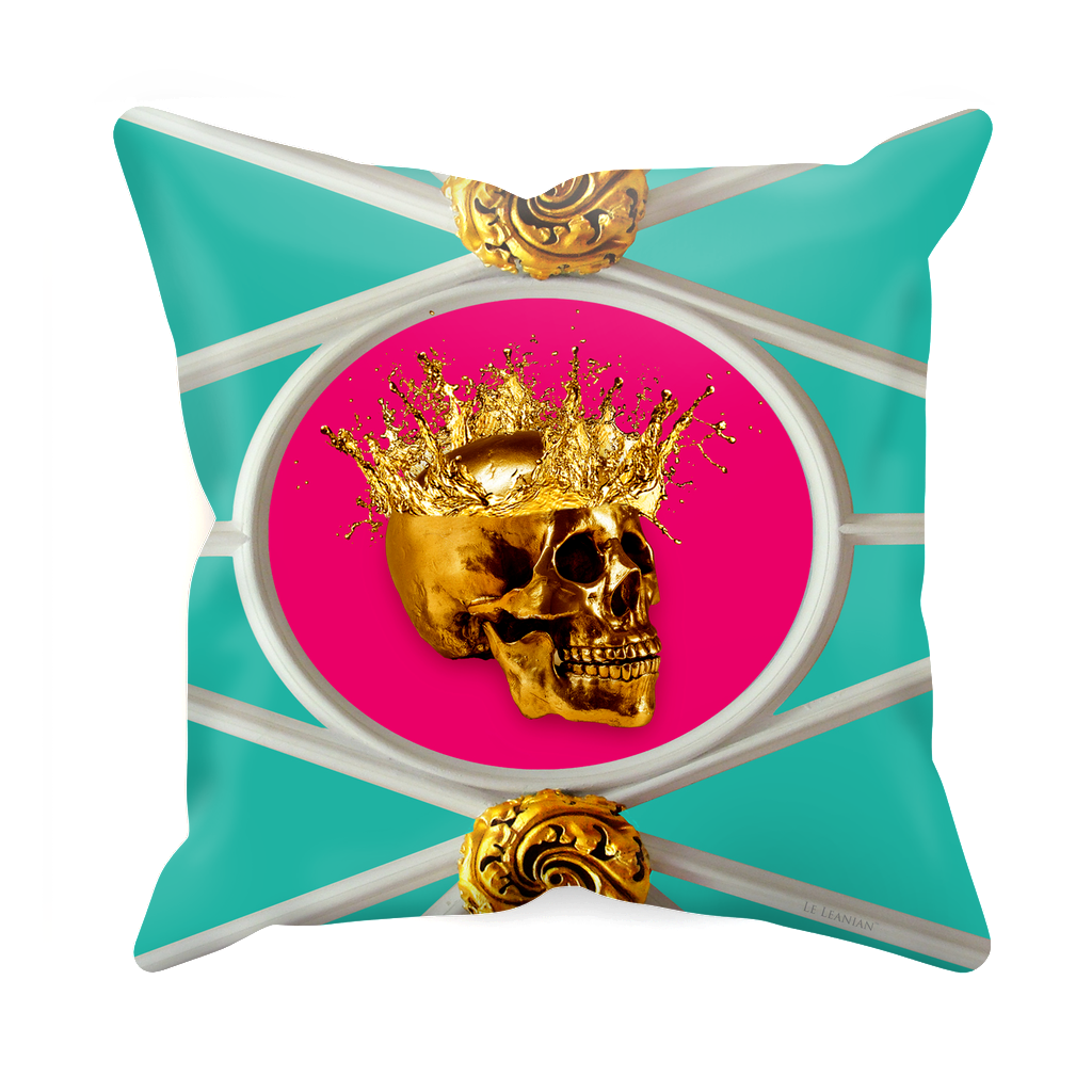 Versailles Golden Skull- Sets & Singles Pillowcase in Teal & Bold Fuchsia | Le Leanian™