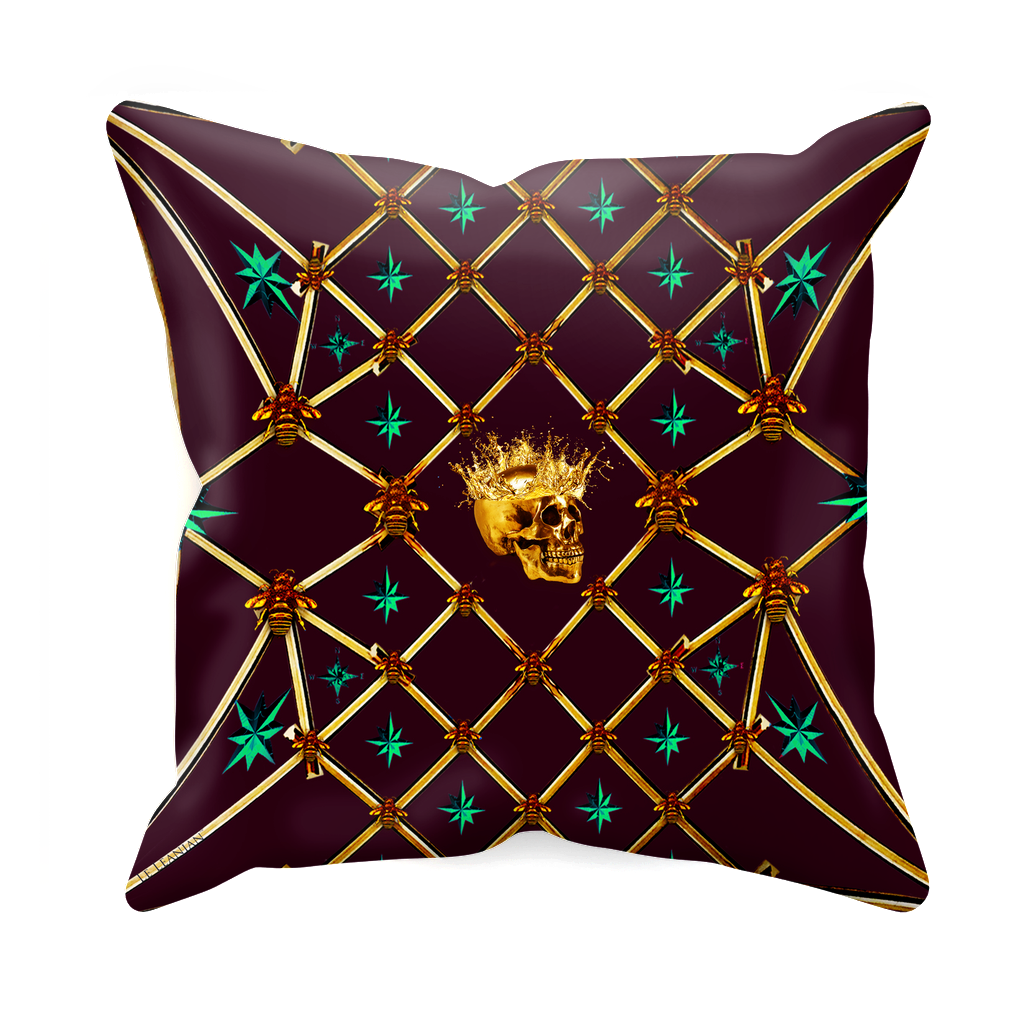 Golden Skull & Jade Stars- Sets & Singles Pillowcase in Eggplant Wine | Le Leanian™