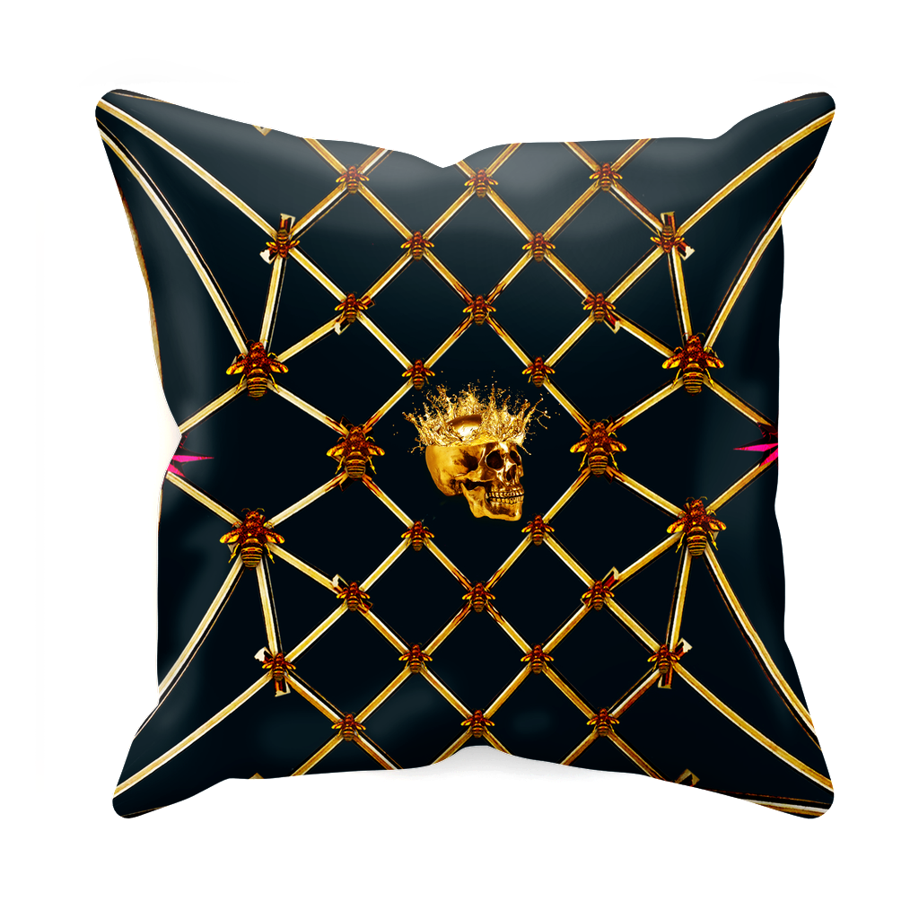 Golden Skull & Magenta Star- Sets & Singles Pillowcase in Midnight Teal | Le Leanian™