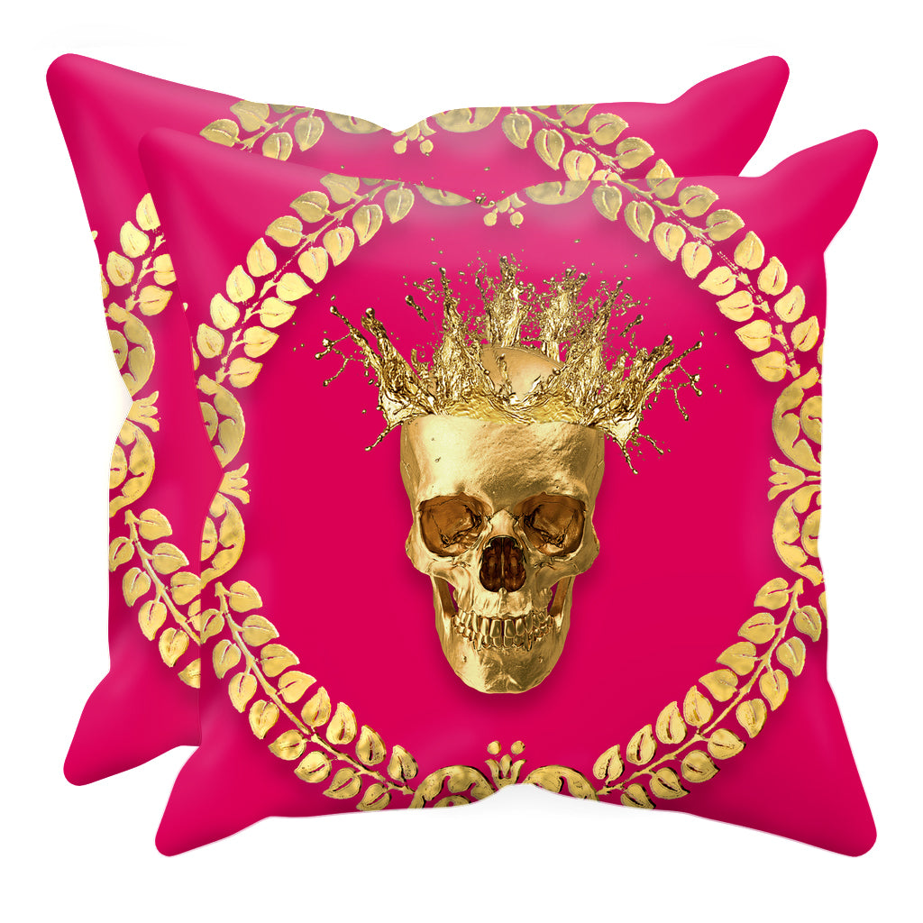 Caesar Gilded Skull- Sets & Singles Pillowcase in Bold Fuchsia | Le Leanian™