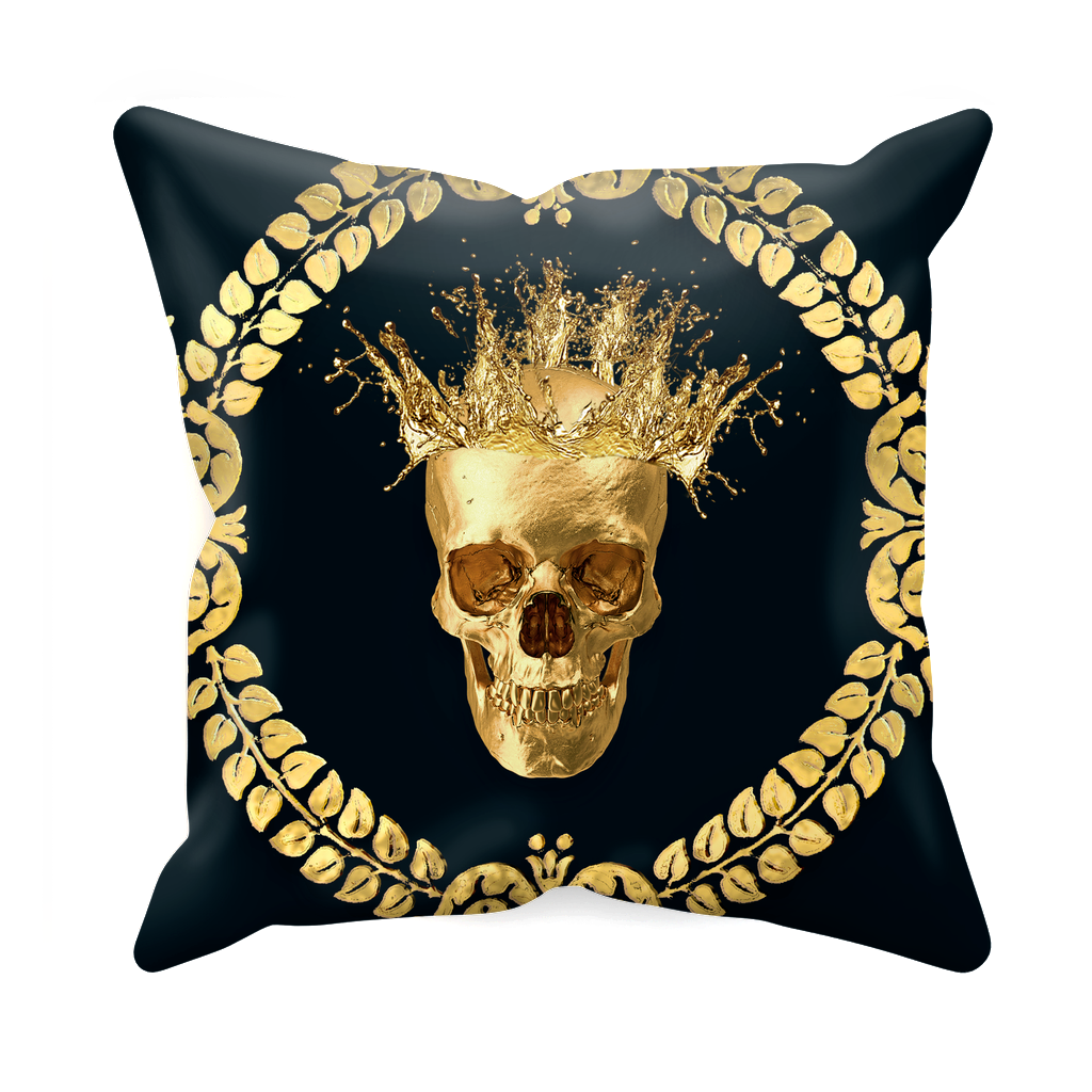 Caesar Gilded Skull- Sets & Singles Pillowcase in Midnight Teal | Le Leanian™