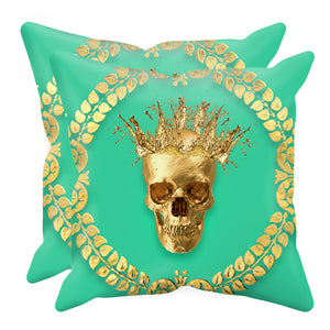 Caesar Gilded Skull- Sets & Singles Pillowcase in Bold Jade Teal | Le Leanian™