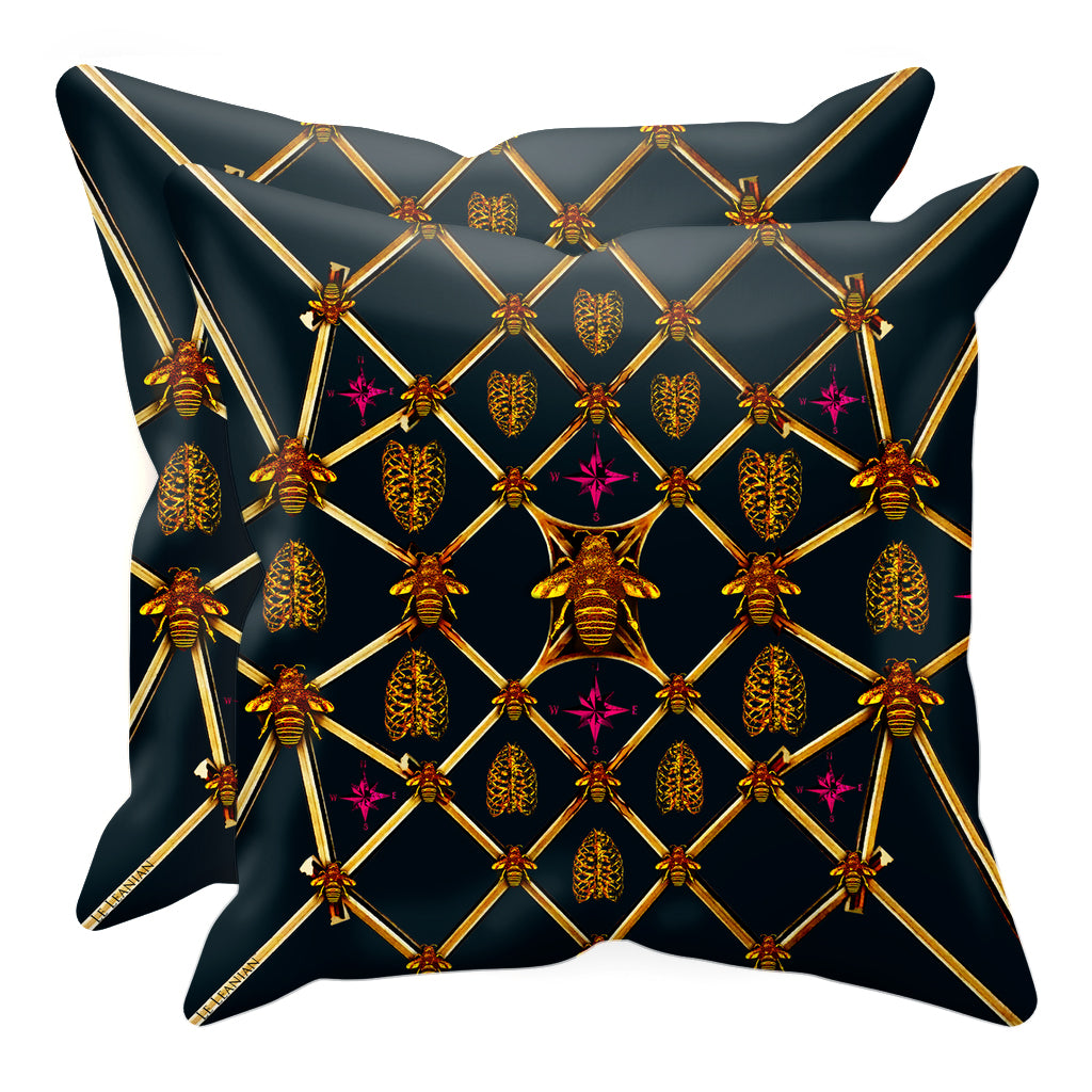 Bee Divergence Gilded Bees & Ribs Magenta Stars- Sets & Singles Pillowcase in Midnight Teal | Le Leanian™