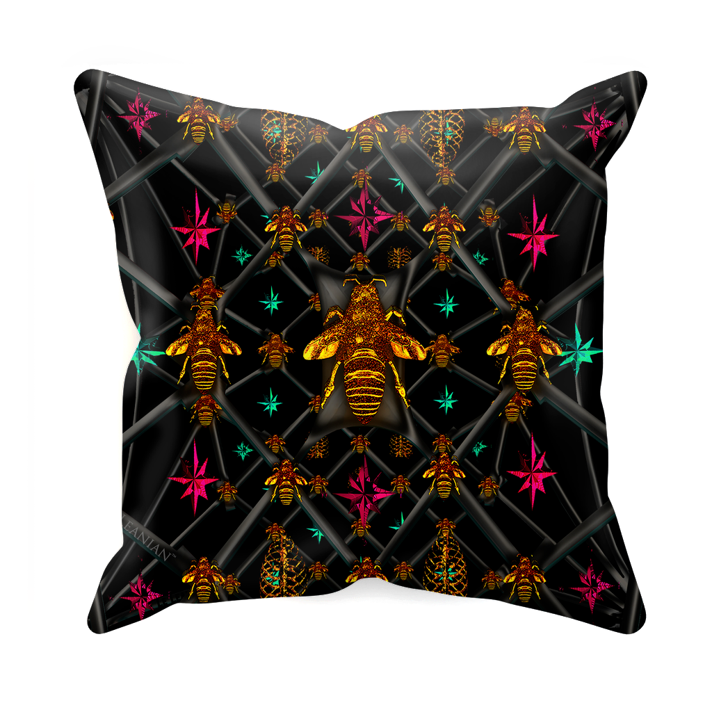Bee Divergence Abstract- Sets & Singles Double Sided Pillowcase in Back to Black | Le Leanian™