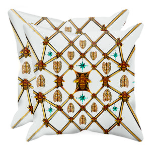 Bee Divergence Gilded Bees & Ribs Teal Stars- Sets & Singles Pillowcase in Lightest Gray | Le Leanian™