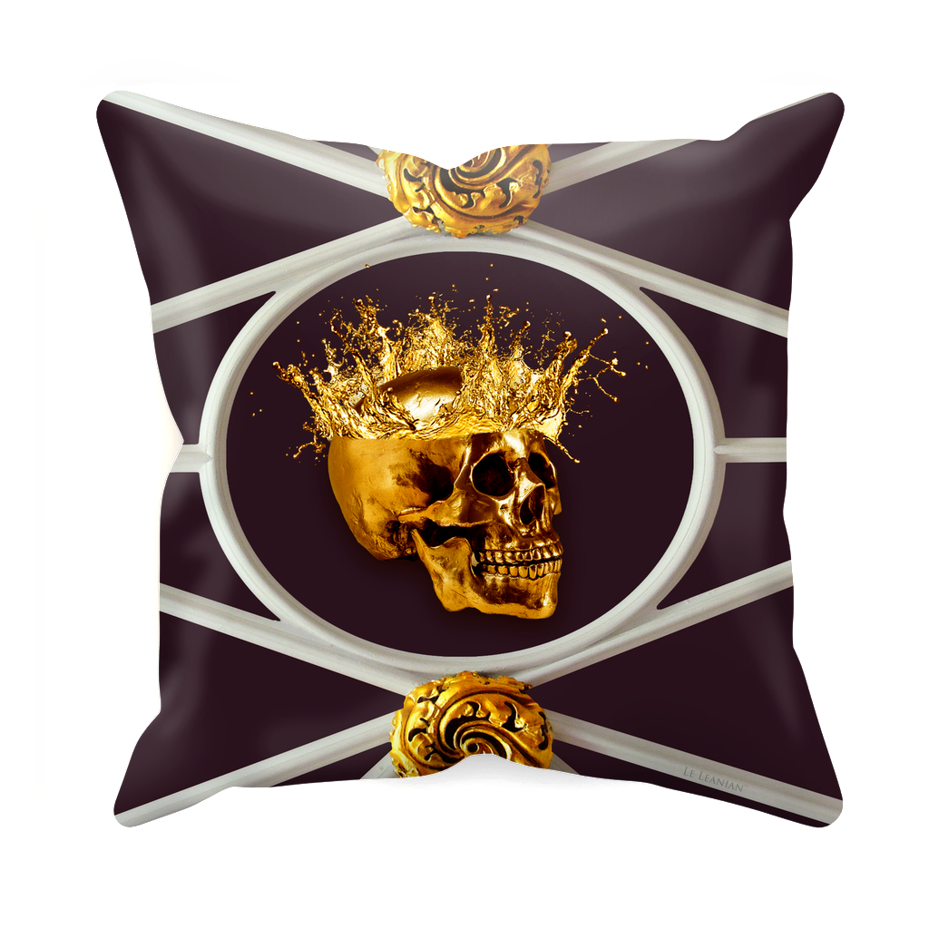 Versailles Golden Skull- Sets & Singles Pillowcase in Muted Eggplant Wine | Le Leanian™