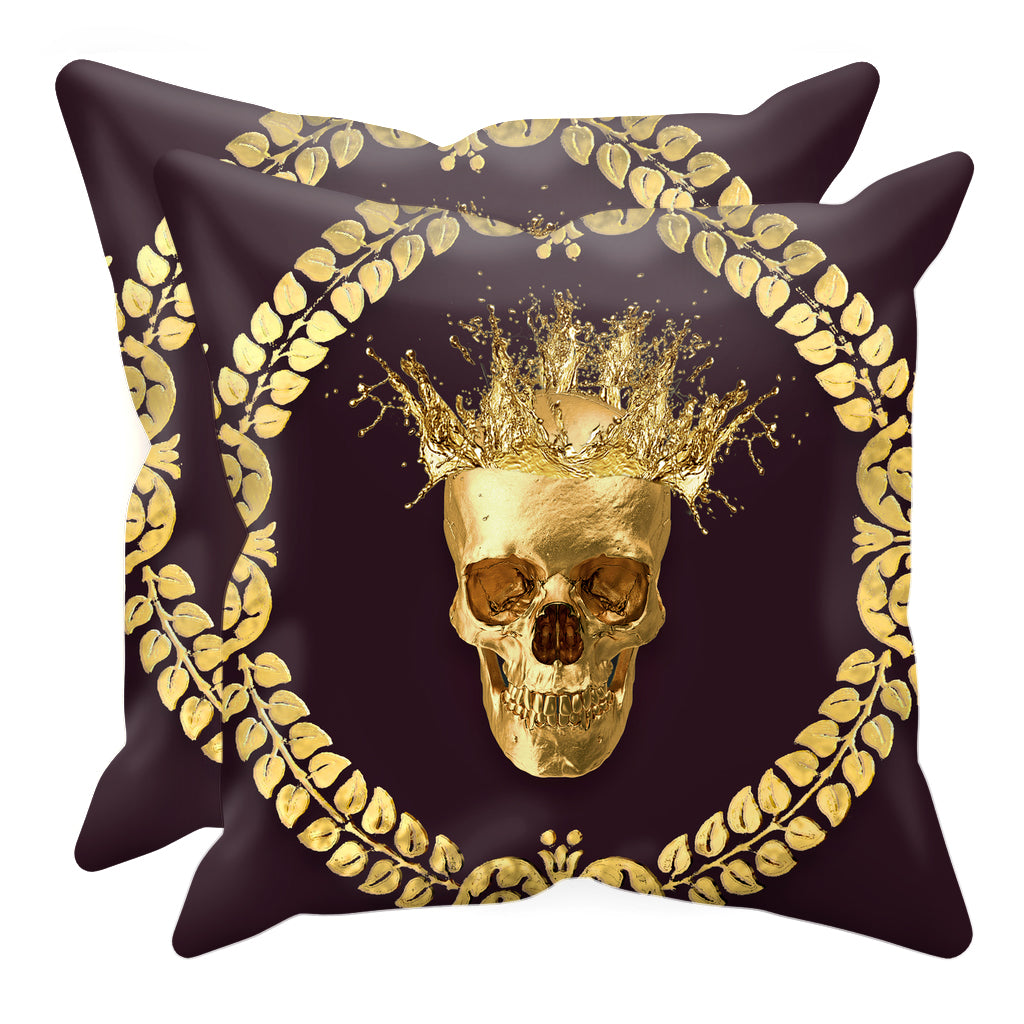 Caesar Gilded Skull- Sets & Singles Pillowcase in Muted Eggplant Wine | Le Leanian™