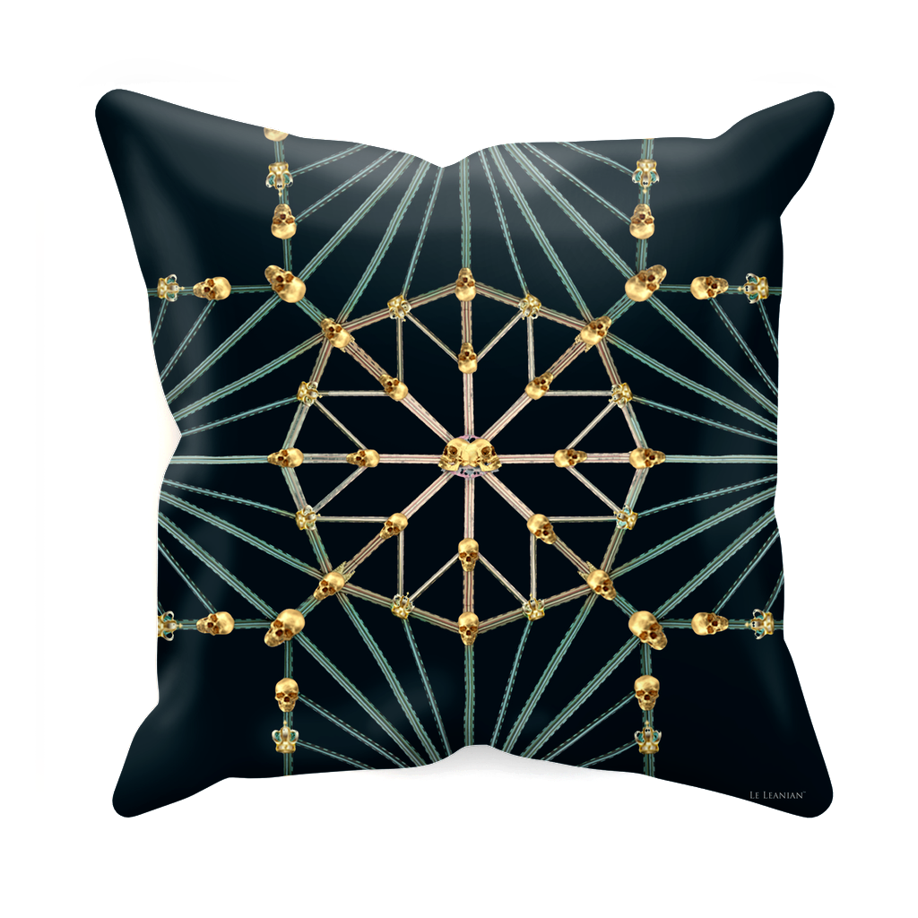 Skull Cathedral- Sets & Singles Pillowcase in Midnight Teal | Le Leanian™