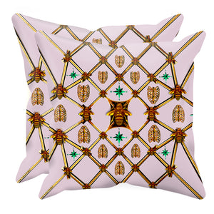 Bee Divergence Gilded Bees & Ribs Jade Stars- Sets & Singles Pillowcase in Nouveau Blush Taupe | Le Leanian™