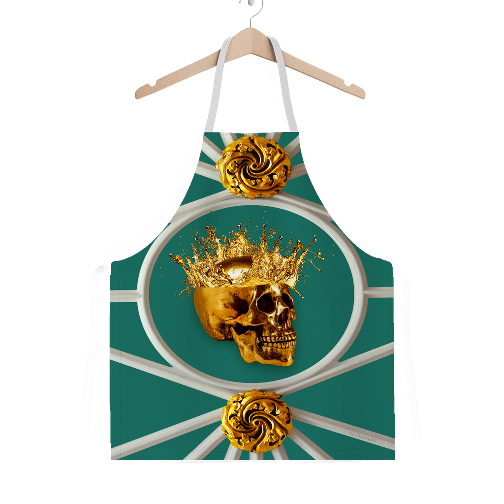 Versailles Golden Skull- Classic French Gothic Apron in Jade | Le Leanian™