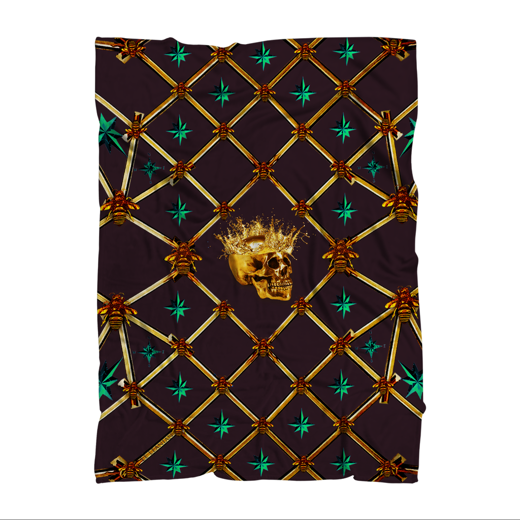 Skull Gilded Honeycomb & Jade Stars- Classic French Gothic Fleece Blanket in Muted Eggplant Wine | Le Leanian™