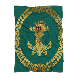 Polar Fleece Blanket-GOLD SKULL & RIBS-GOLD WREATH-Color JADE TEAL, GREEN, BLUE GREEN