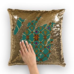 Sequin Gold Pillowcase & Throw Pillow-Honey Bee & Rib Print- Jade green Blue