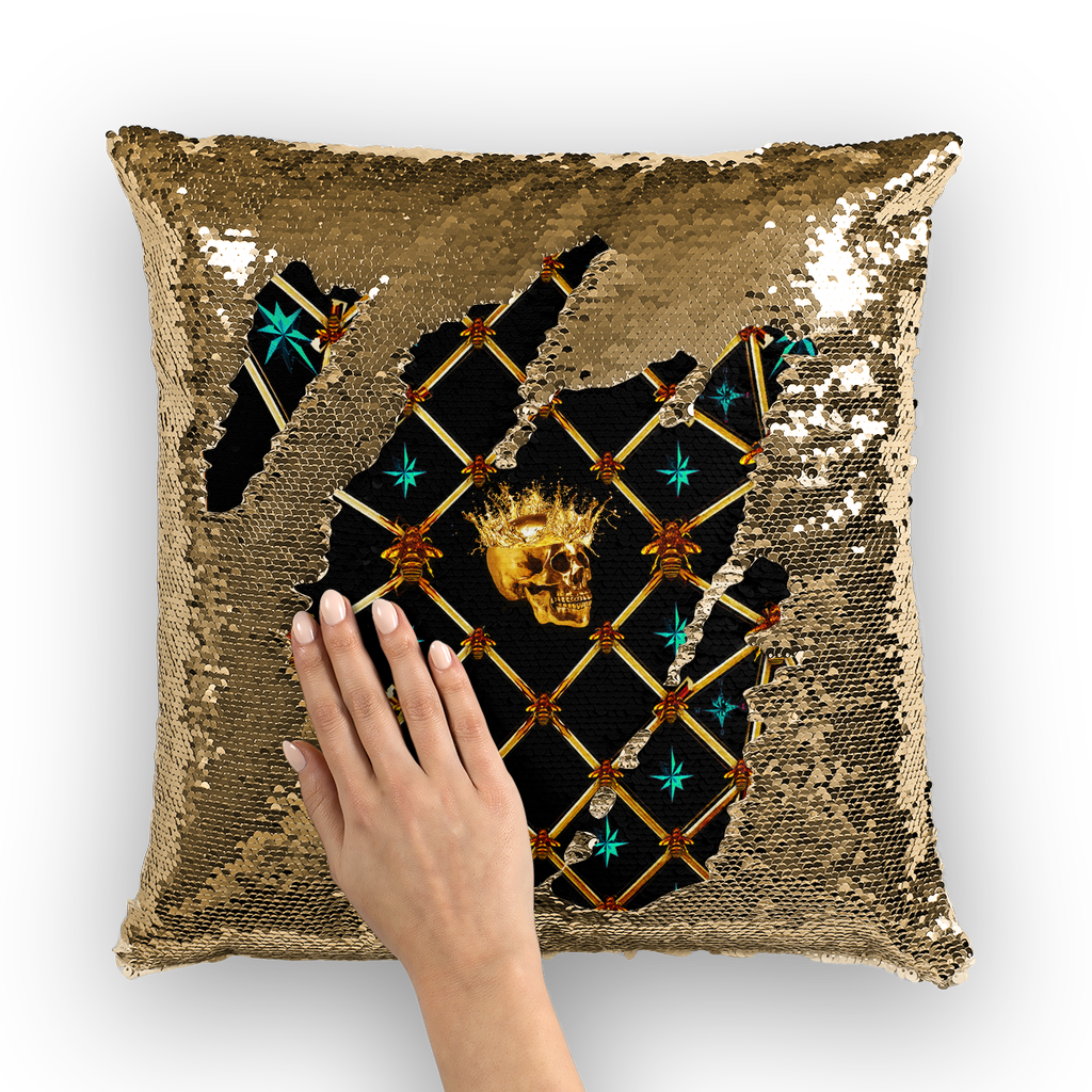Golden Skull & Teal Stars- French Gothic Sequin Pillowcase or Throw Pillow in Back to Black | Le Leanian™