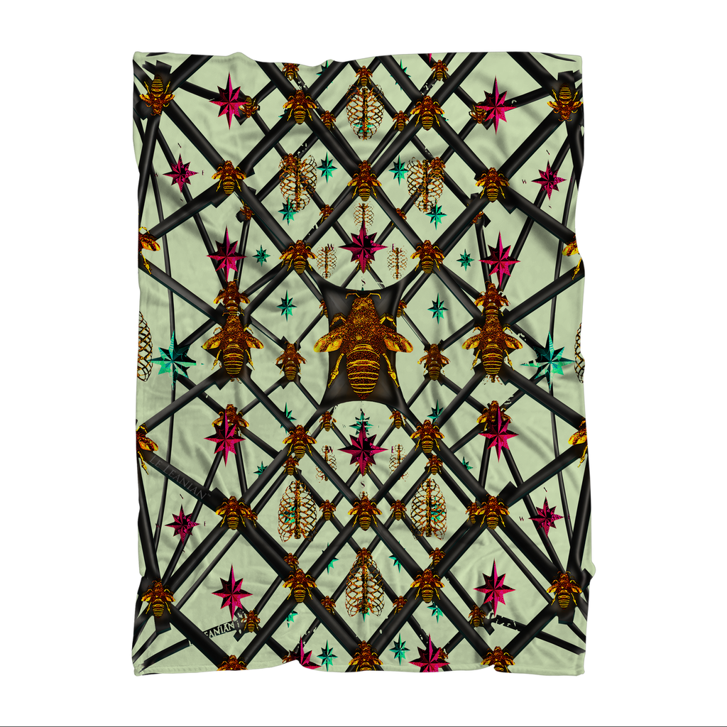 Bee Divergent Abstract- Classic French Gothic Fleece Blanket in Pale Green | Le Leanian™