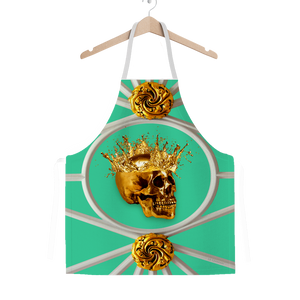 Versailles Golden Skull- Classic French Gothic Apron in Bold Jade Teal | Le Leanian™