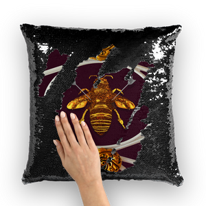 Versailles Bee Divergent- French Gothic Sequin Pillowcase or Throw Pillow in Eggplant Wine | Le Leanian™