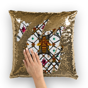BLACK & GOLD SEQUIN PILLOW CASE-THROW PILLOW-Multi Color Honey BEE, RIBS, STARS PATTERN-Color PASTEL WHITE LIGHT GRAY