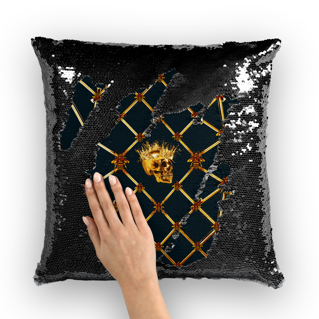 Golden Skull and Magenta Star- French Gothic Sequin Pillowcase or Throw Pillow in Midnight Teal | Le Leanian™